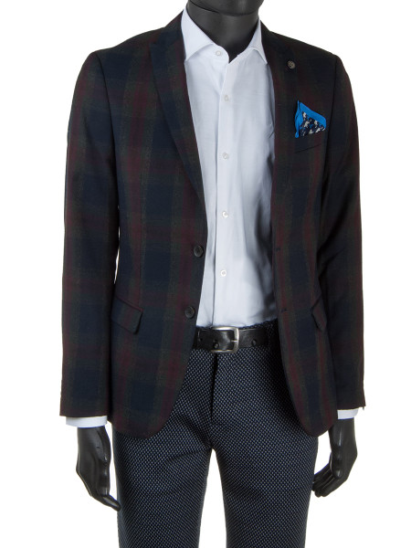 Bordeaux & Blue Check Wool Blazer