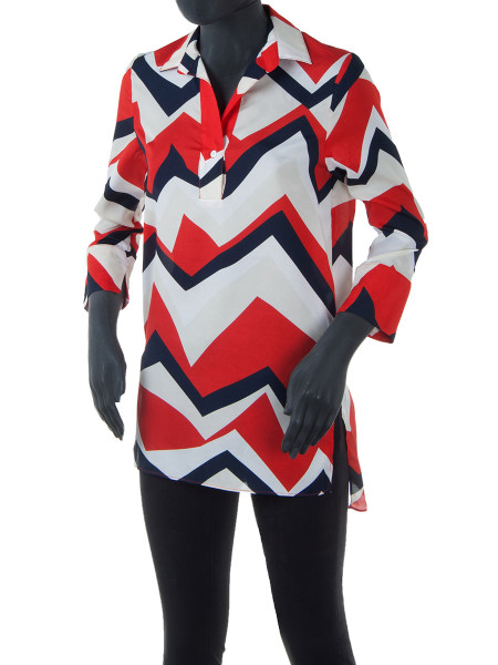 Red Triangle Print Blouse