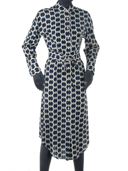 Dark Blue Printed Shirt Dress
