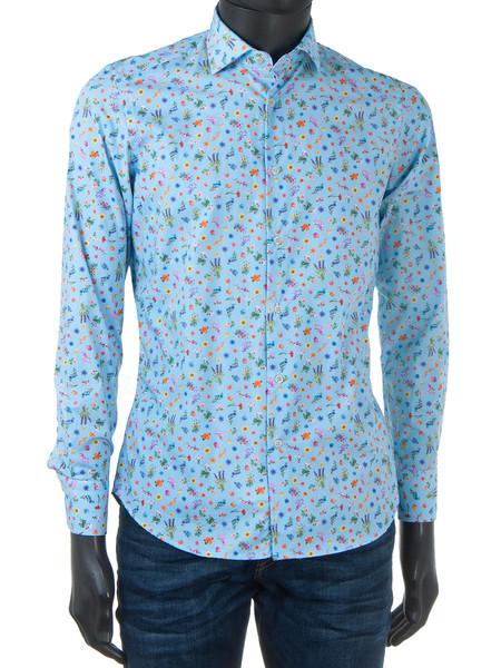 Wild Flower Print Sky Shirt