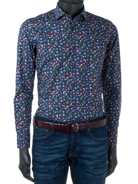 Wild Flower Print Navy Shirt
