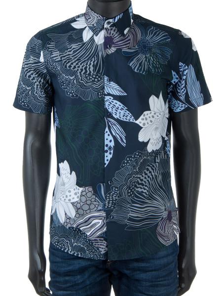 Short Sleeve Flower Print Summer Shirt