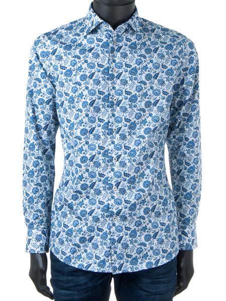 Blue Floral Print Lux Shirt