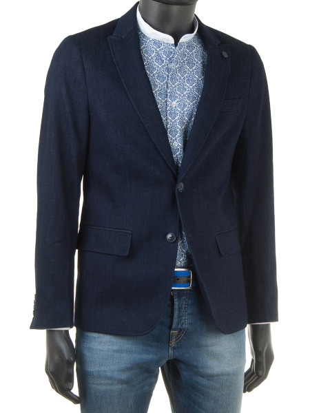 Dark Blue Stretch Denim Blazer