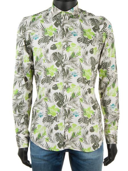 Floral Print Linen Blend Shirt Ecru
