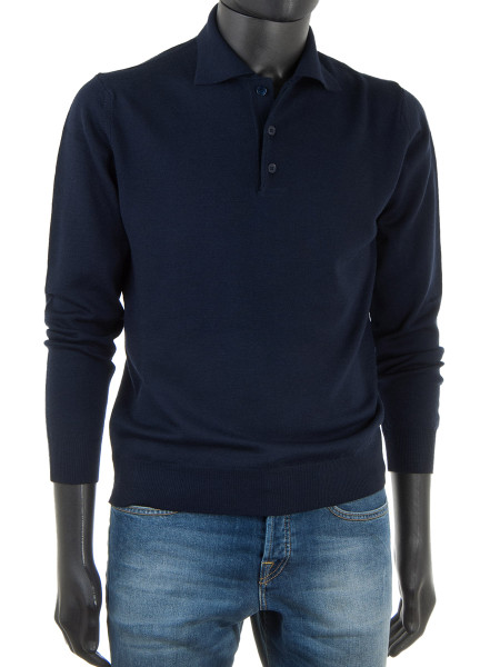 Dark Blue Pure Merino Polo Jumper