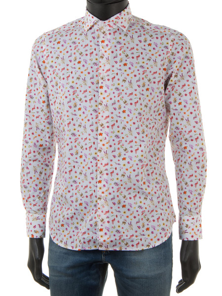 Wild Flower Print White Shirt