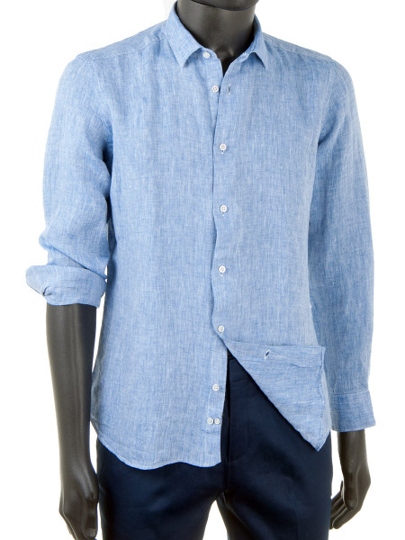 Pure Linen Shirt Sky Blue