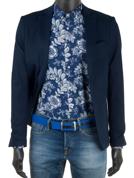 Rose Print Ink Blue Shirt