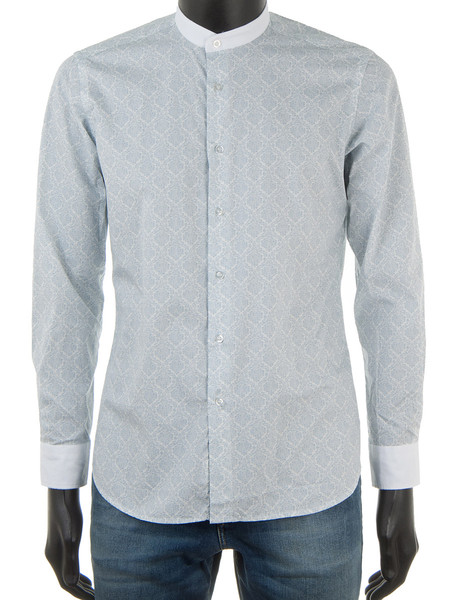 Paisley Print Shirt Light Blue With Band Collar
