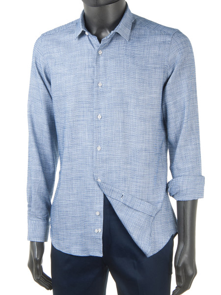 Textured Cotton Dress Shirt Denim Blue