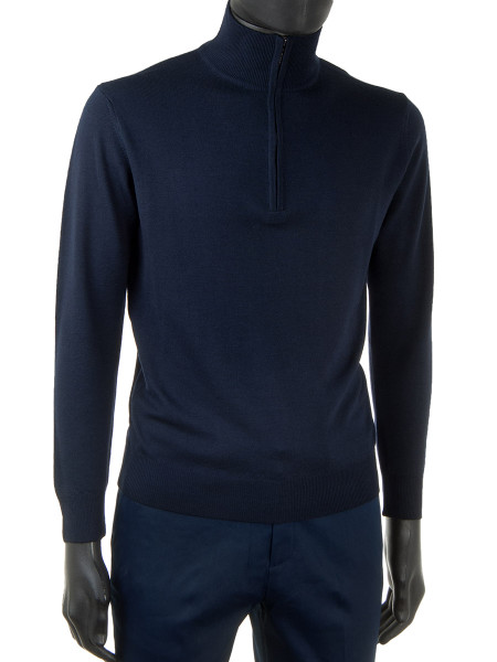 Dark Navy Merino Wool Zip Neck Jumper