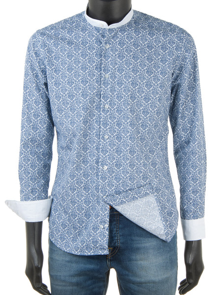 Paisley Print Shirt Navy Blue With Band Collar