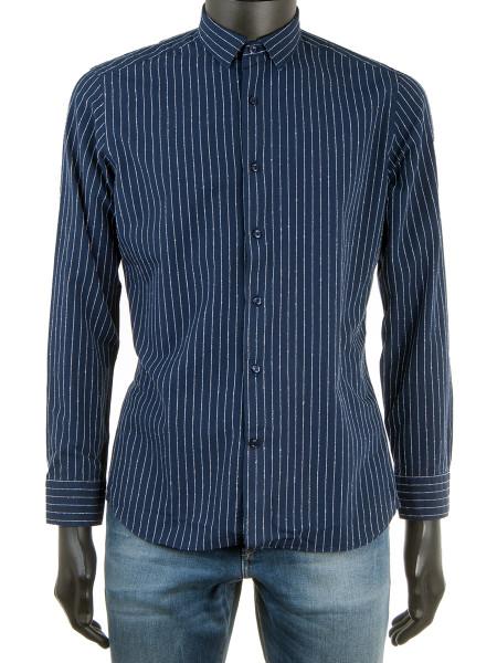 3D Texture Pinstripe Indigo Shirt