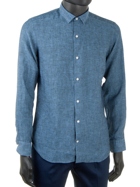 Pure Linen Shirt Denim Blue