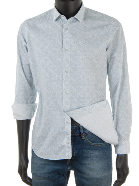 Paisley Print Shirt French Grey Blue