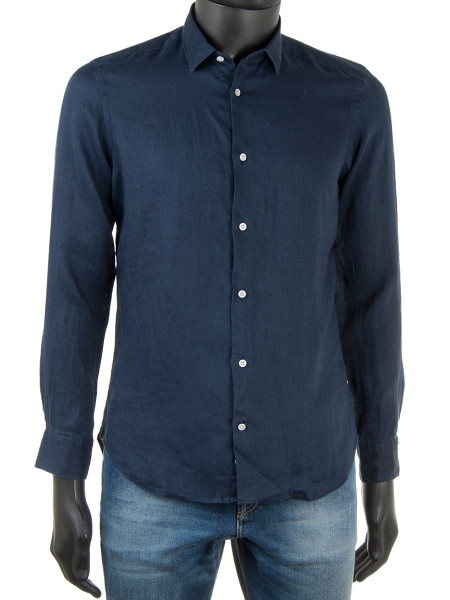 Pure Linen Shirt Dark Navy