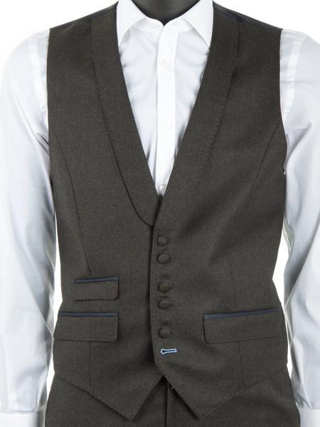 Khaki Wool Flannel Waistcoat