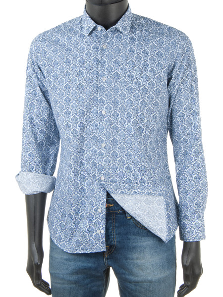 Paisley Print Shirt Navy Blue