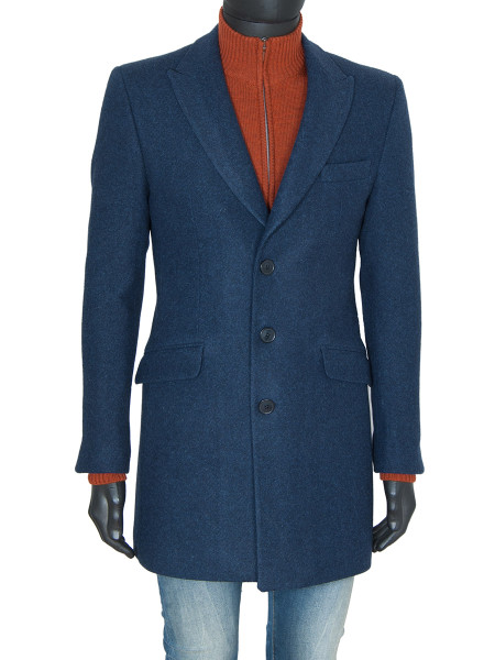 Navy Classic Single Breasted Wool Coat