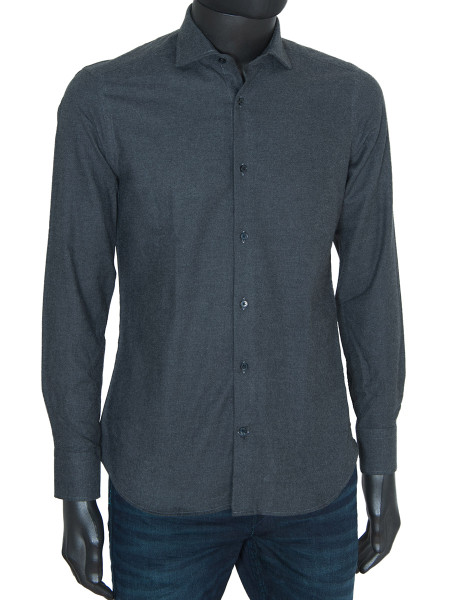 Charcoal Brushed Cotton Flannel Shirt