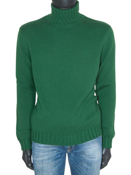 Green Merino Wool Roll Neck Jumper