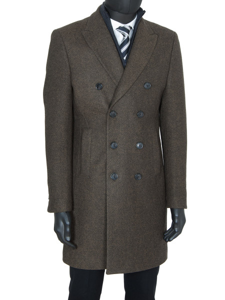 Tan Classic Double Breasted Wool Coat