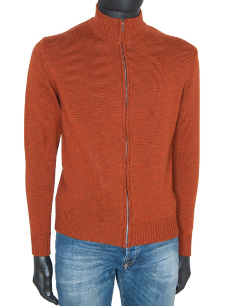 Burnt Orange Marino Wool Full Zip Cardigan