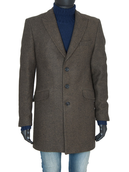 Tan Classic Single Breasted Wool Coat