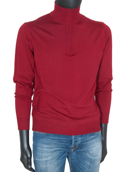 Crimson Merino Wool ½ Zip Polo Neck Jumper
