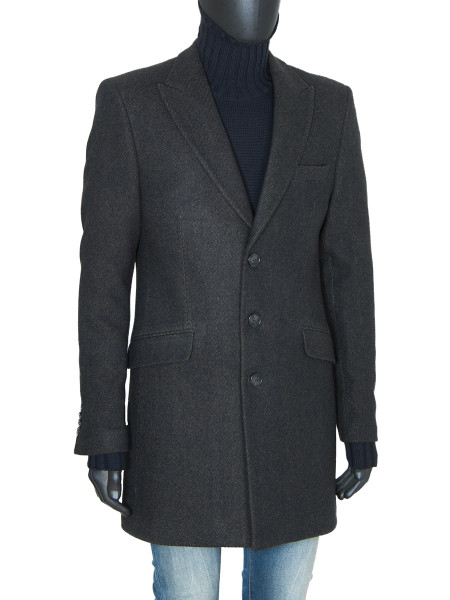 Brown Classic Single Breasted Wool Coat