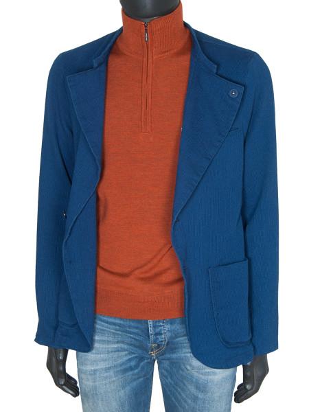 Burnt Orange Merino Wool ½ Zip Polo Neck Jumper