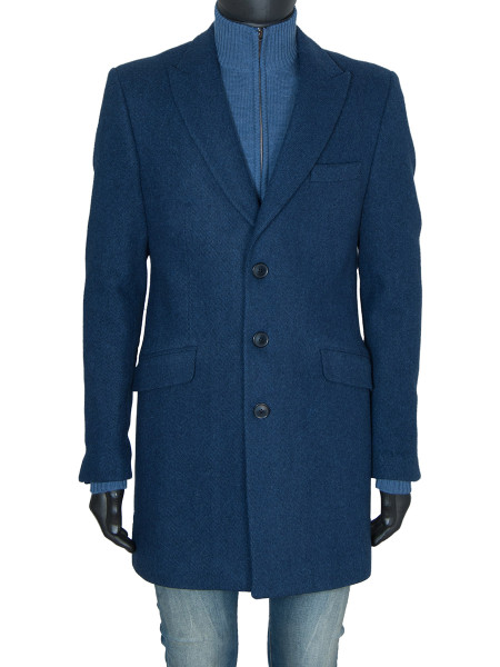 Blue Classic Single Breasted Wool Coat