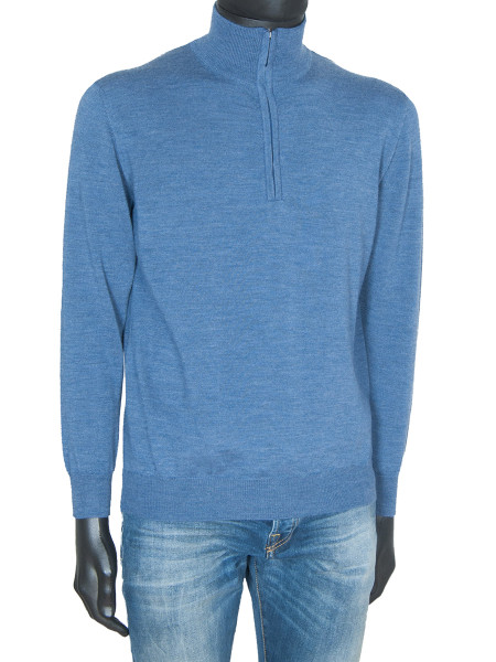 Sky Merino Wool ½ Zip Polo Neck Jumper