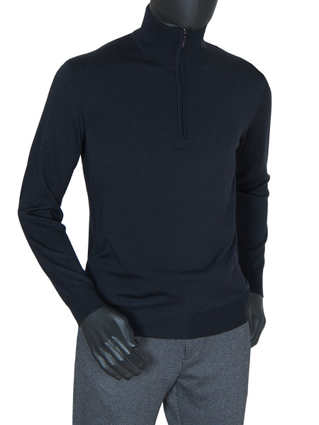 Black Merino Wool ½ Zip Polo Neck Jumper