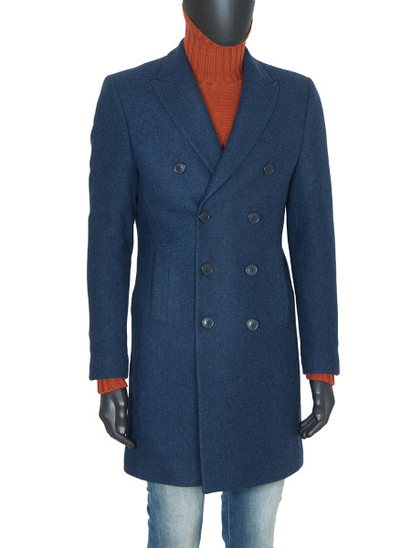 Navy Classic Double Breasted Wool Coat