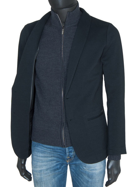 Charcoal Marino Wool Full Zip Cardigan