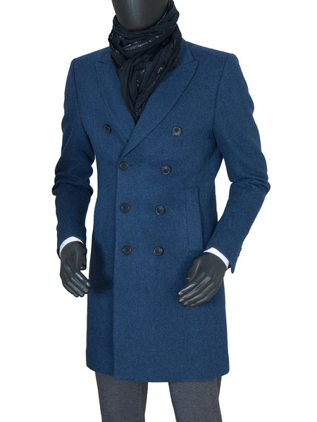 Blue Classic Double Breasted Wool Coat