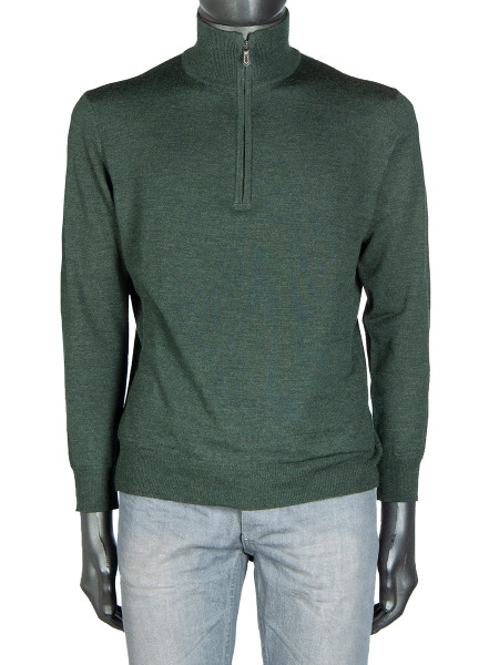 Forest Green Wool ½ Zip Polo Neck Jumper
