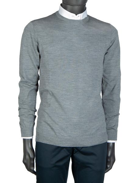 Light Grey Melange Crew Neck Pullover