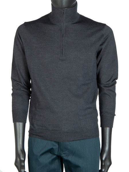 Charcoal ½ Zip Polo Neck Jumper