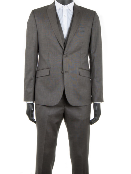 Mushroom Sharkskin Wool 2 Piece Suit