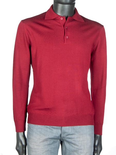 Crimson Pure Merino Polo Jumper