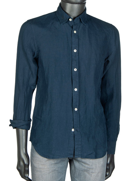 Navy Washed Linen Shirt