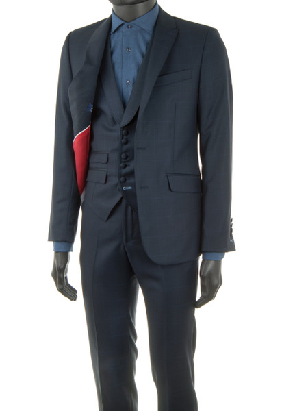 Navy Windowpane Check 2 Piece Wool Suit