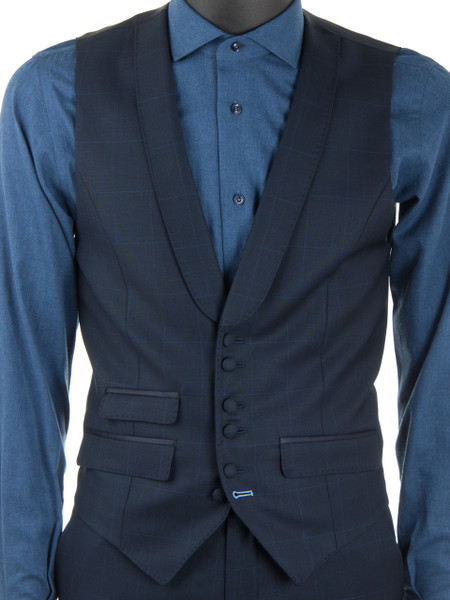Navy Windowpane Check Wool Waistcoat