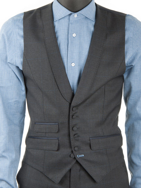 Charcoal Windowpane Check Waistcoat