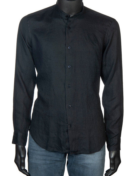 Grandad-Collar Washed Linen Shirt Black