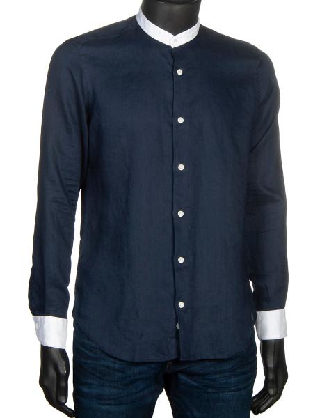 Grandad-Collar Washed Linen Shirt Navy