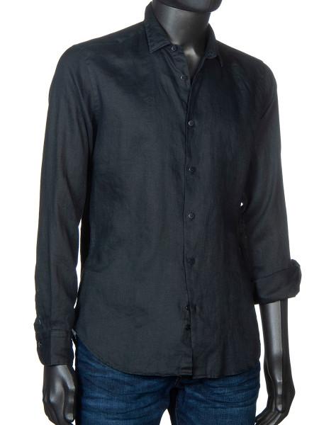 Washed Linen Shirt Black
